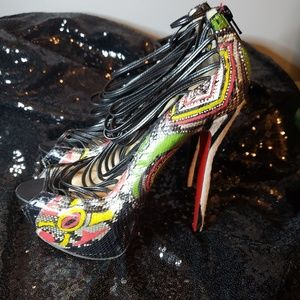 CHRISTIAN LOUBOUTIN ZOULOU PLATFORM CAGED SANDALS
